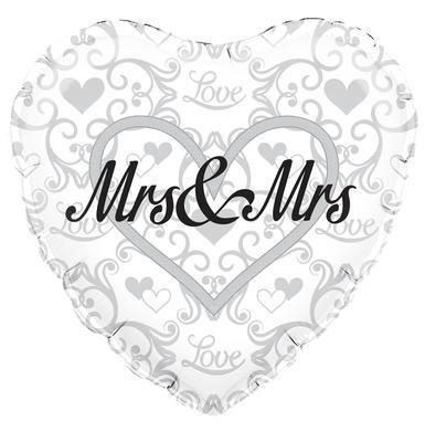Mrs & Mrs - zur Verpartnerung - Herzballon 45 cm - Folie