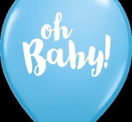 oh Baby! - Babyparty - Geburt - blauer Latexballon mit weißer Schrift