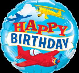 Happy Birthday Folienballon mit Flugzeugen - rund - 45 cm