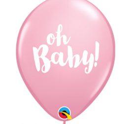 oh Baby! für die Babyparty - Babyshower - zur Geburt - weiße Schrift auf rosafarbenem Latexballon