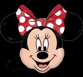 Minniemouse Kopf mit roter Masche und weißen Tupfen - Folienballon