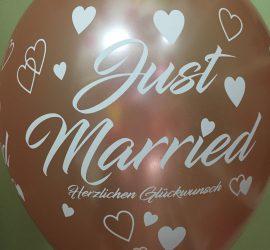 Just Married Herzlichen Glückwunsch - Latexballon in rosegold mit weißer Schrift - wunderschön zur Hochzeit