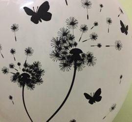 Wir vermissen dich - Schmetterlinge und Pusteblume Rückseite - weißer Latexballon mit schwarzen Motiven