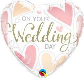 Hochzeit - ON YOUR Wedding DAY - zu eurem Hochzeitstag - Folienherz in weiß mit rosafarbenen Herzen - 45 cm