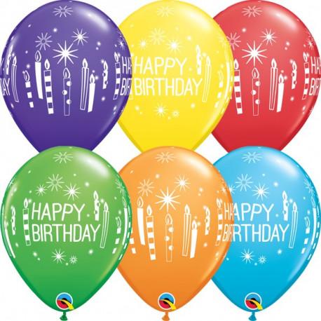 Happy Birthday Latexballons mit Geburtstagskerzen! In 6 wunderschönen Farben!