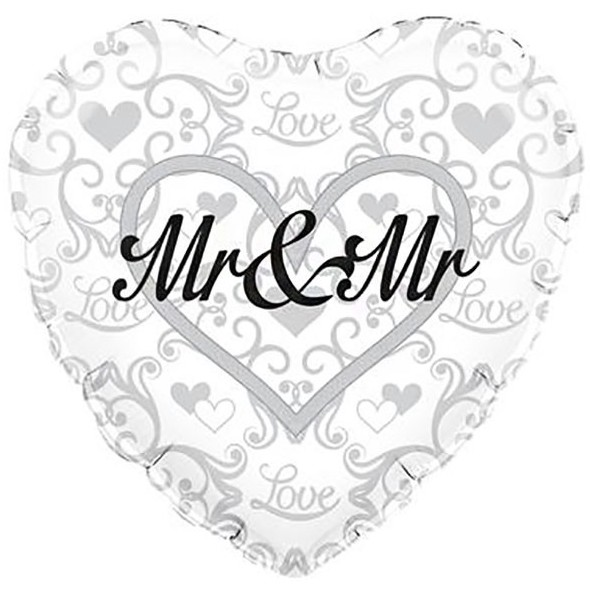 Mr & Mr - zur Verpartnerung - silberfarbenes Folienherz mit schwarzer Schrift - 45 cm