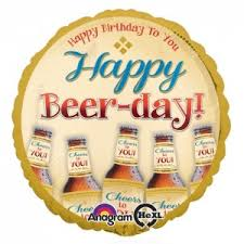 Happy Beer-day! Happy Birthday to you! Geburtstags-Folien-Ballon rund 45 cm