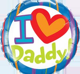 I love Daddy! - Ich hab dich lieb Papa! - zum Vatertag oder einfach so! Runder Folienballon 45 cm