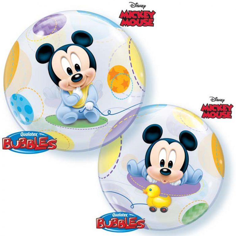 Mickeymouse Baby Bubble 55 cm rund für die Babyparty, Babyshower, zur Geburt, zum Geburtstag