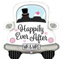 Hochzeitsballon `Happily Ever After´ Brautpaar im Auto! Mr & Mrs - Folie, 80 cm