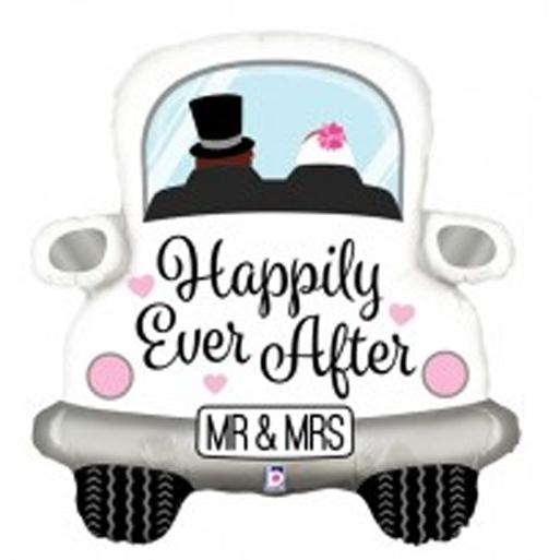 Hochzeitsballon `Happily Ever After´ Brautpaar im Auto! Mr & Mrs - Folie, 80 cm