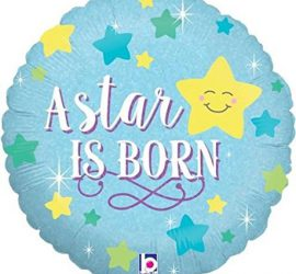A star is born - zur Geburt eines Jungen - It´s a boy - runder Folienballon 45 cm