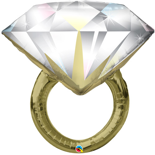 Diamantring - für die Verlobung - zur Hochzeit, großer Folienballon 94 cm, gold und weiß
