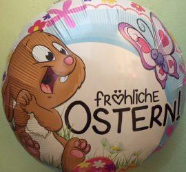fröhliche OSTERN! Osterhase mit Schmetterlingen und Blumen auf rundem Folienballon, 45 cm