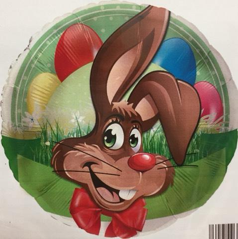 runder Folienballon mit Osterhase und bunten Ostereiern; 45 cm