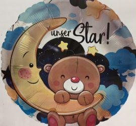 runder blauer Folienballon mit süßem Teddy und Mond, mit der Aufschrift `unser Star!´- zur Geburt des Prinzen
