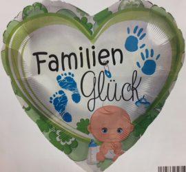 Folienherz mit der Aufschrift `FamilienGlück´und Baby und Hand- und Fussabdrücken zur Geburt oder für die Babyparty/Babyshower für den Jungen