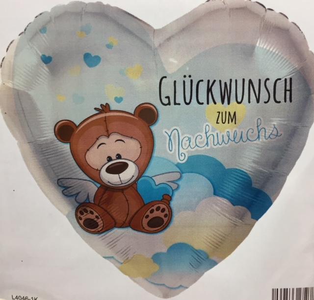 Folienherz in blau mit Teddy und der Aufschrift `Glückwunsch zum Nachwuchs´ - zur Geburt eines Jungen