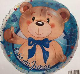 blauer runder Folienballon mit Teddy mit blauer Schleife, mit der Aufschrift `Es ist ein Junge´- für die Babyparty/Babyshower, zur Geburt den Prinzen