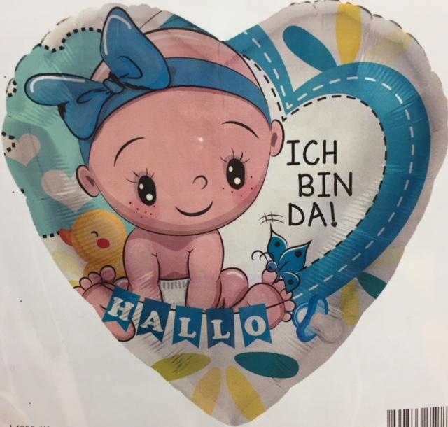 blaues Folienherz mit Baby und der Aufschrift `HALLO ICH BIN DA´ zur Geburt des Prinzen