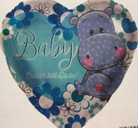 Baby-Folien-Herz mit Nilpferd und der Aufschrift `Endlich bist Du da! - blau - zur Geburt!