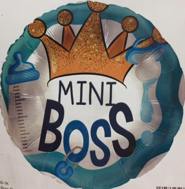 MINI BOSS - runder blauer Folienballon mit Krone zur Geburt des Prinzen oder für die Babyparty/Babyshower