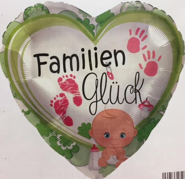 Folienherz mit der Aufschrift `FamilienGlück´ mit Baby und Hand- und Fussabdrücken zur Geburt oder für die Babyparty/Babyshower für ein Mädchen
