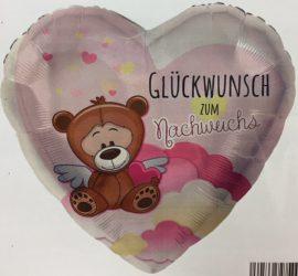 Folienherz in rosa mit Teddy und der Aufschrift `Glückwunsch zum Nachwuchs´ - zur Geburt eines Mädchen