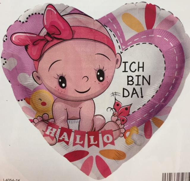 rosafarbenes Folienherz mit Baby und der Aufschrift `HALLO ICH BIN DA´ zur Geburt der Prinzessin