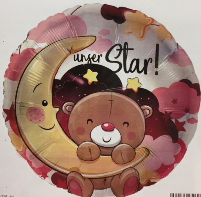 runder rosafarbener Folienballon mit süßem Teddy und Mond, mit der Aufschrift `unser Star!´- zur Geburt der Prinzessin