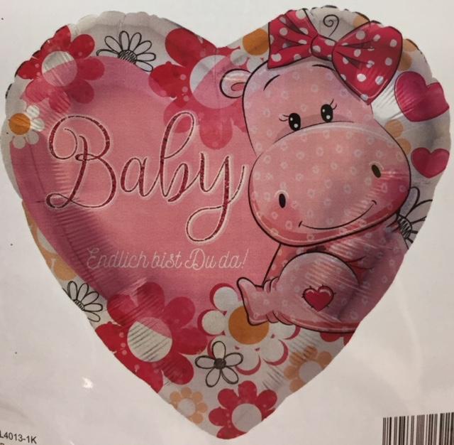 Baby-Folien-Herz mit Nilpferd und der Aufschrift `Endlich bist Du da! - rosa - zur Geburt!