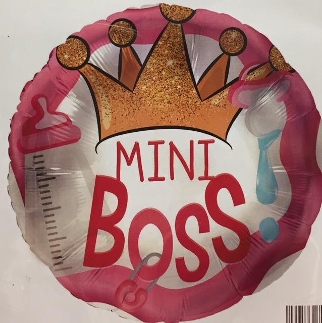 MINI BOSS - runder rosafarbener Folienballon mit Krone zur Geburt der Prinzessin oder für die Babyparty/Babyshower
