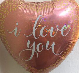 Folienherz rosegold mit weißer Aufschrift `i love you´ - 45 cm