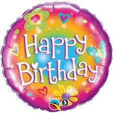 Happy Birthday Folienballon rund, 45 cm in bunten Farben mit Blumen und Herzen
