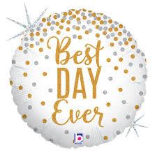Best DAY Ever - für die Hochzeit, zur Verlobung, zum Geburtstag, zum Anlass... Folienballon rund, 45 cm, glitzert!