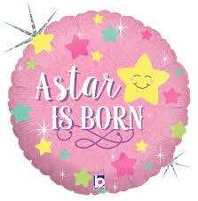 A star is born - zur Geburt eines Mädchens - It´s a girl - runder Folienballon 45 cm