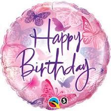 Happy Brithday Ballon mit Schmetterlingen in rosa- und lila Farbtönen; rund; 45 cm
