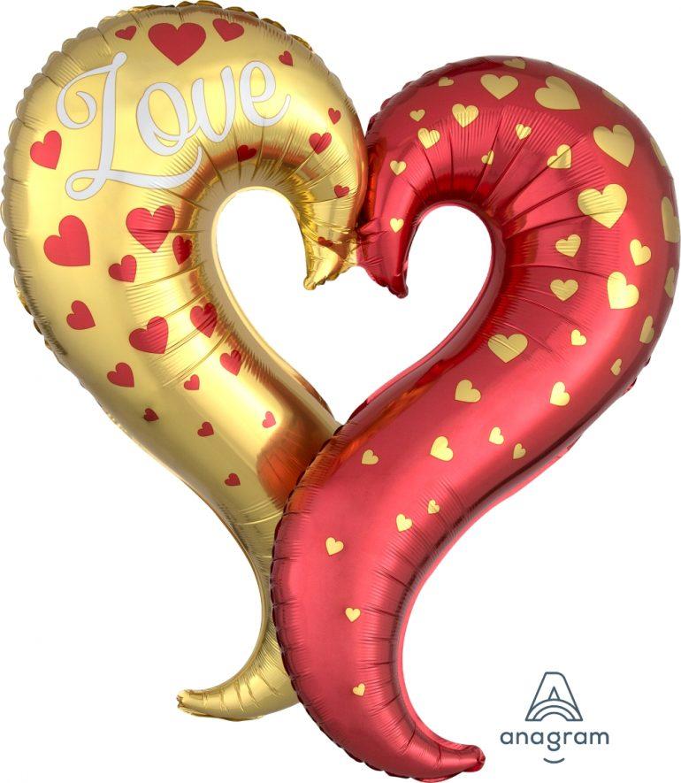 geschwungenes Herz in den Farben rot und gold - 75 cm Folienballon; eine Hälfte in gold mit roten Herzen, die andere Hälfte rot mit goldenen Herzen