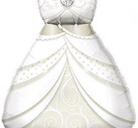 Brautkleid - passend als Gag für den Polterer oder als Deko für die Hochzeit - Folienballon in Form eines Brautkleides