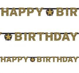 Happy Birthday Banner mit goldfarbenen Buchstaben!