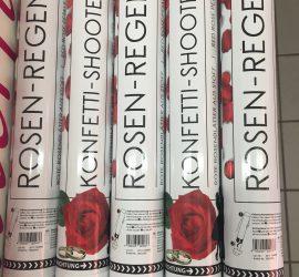 Konfettikanone - Partypopper - Rosenregen - rote Rosenblätter