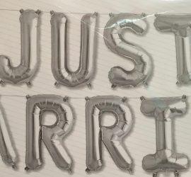 Schriftzug `JUST MARRIED´ - Luftfüllung! 40 cm große Buchstaben in silber
