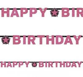 HAPPY BIRTHDAY BANNER in pinkfarbenen Buchstaben
