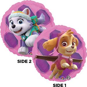 Everest und Skye, die Freunde von Paw Patrol - runder Folienballon 45 cm