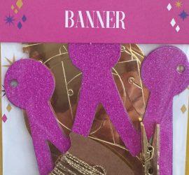 Partykette/-banner PRINCESS - goldfarbene Buchstaben, pinkfarbene Krönchen