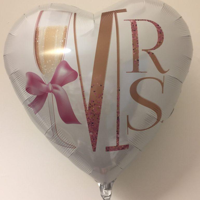 Folienherz MRS mit Sektglas und rosafarbener Schleife - zur Hochzeit - 70 cm groß