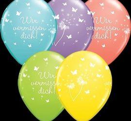 Wir vermissen dich - Latexballons in fünf verschiedenen Farben