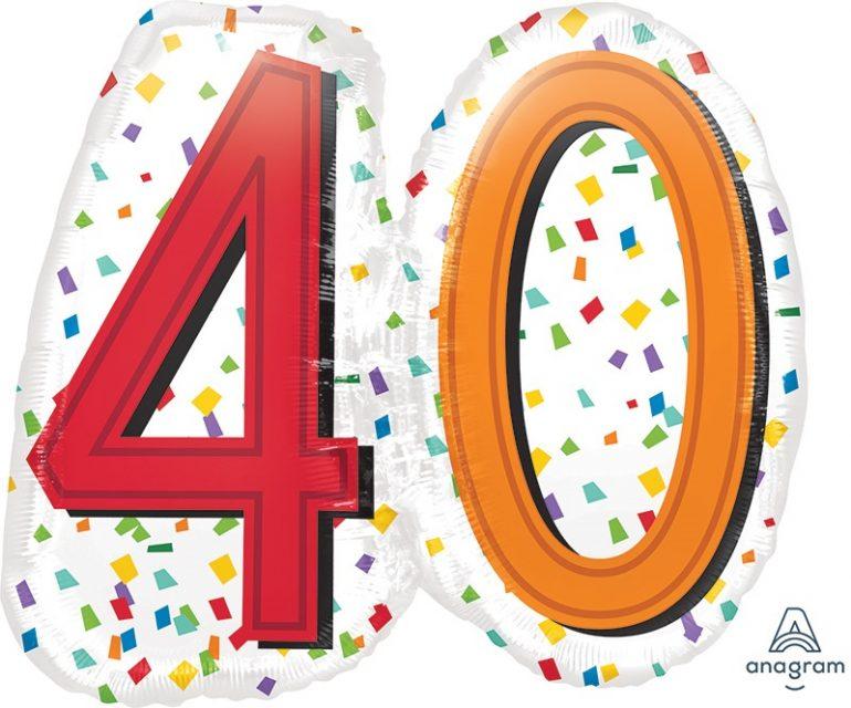 Zum 40. Geburtstag - Folienballon 60 cm groß! `Happy Birthday´ - steht auf der Rückseite!