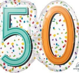 Zum 50. Geburtstag - Folienballon 60 cm groß! `Happy Birthday´ - steht auf der Rückseite!