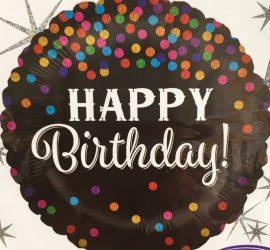 schwarzer Happy Birthday Ballon mit vielen bunten Glitzertupfen - Folie, 45 cm rund